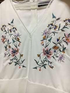 Zalora White Floral Embroidered Dress