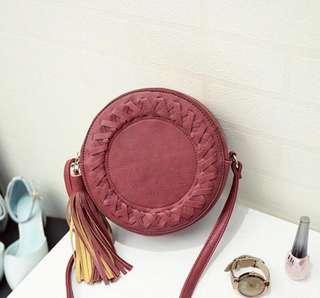 New braided tassel sling bag