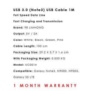 USB 3.0 (Note3) USB Cable 1 Meter