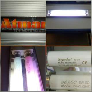 Atman Compact Tubular Fluorescent Lighting systems for fish or water grass tanks {壹得夠發$179.80fixed price 不議價的!}with 2 lamp tubes {red /white }as Free gifts shown in photos! 100%Working in good condition without damages! Length approx. {25inches or 63cm}