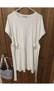 Zara White T-Shirt Belt Dress