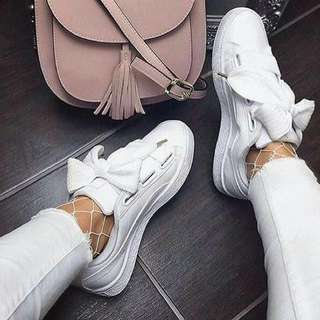 puma basket heart - white