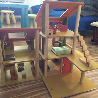 Plan Toys Bungalow Wooden Toy House With Furniture
