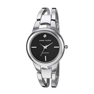 Anne Klein Women AK/2629BKSV Diamond Accented Silver Tone Open Bangle Watch