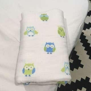 Baby Blanket Angle Dear Owl Blue