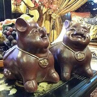 Chinese Vintage Piggy Banks A Pair