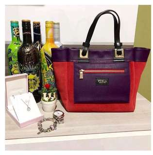 Furla Tribe reversible bag in Red/Purple with dustbag