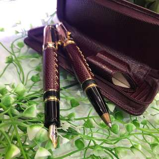 Montblanc ball pen fountain pen with two cover