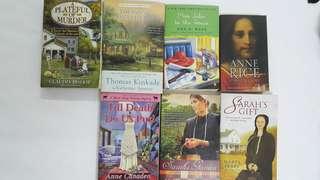 Fiction novels, amish, romance, mystery, murder