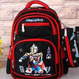 Children's Anime 2n1 Character Backpack (Black)