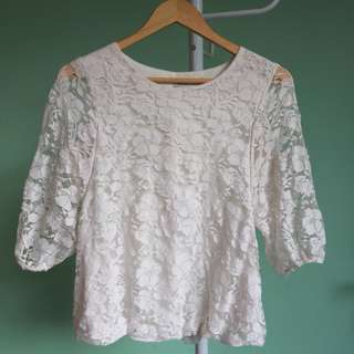 Chic Simple White Lace Top