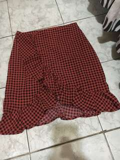 Red and Black Gingham Skirt