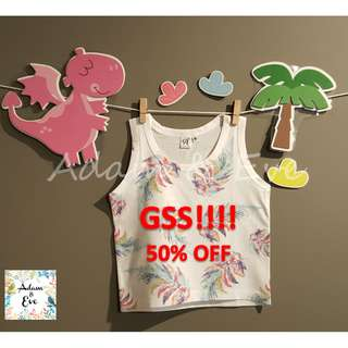GSS Unisex Baby Top D2 –Feather Print Top $9.90 (NOW $5)