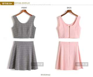 Two Piece Grid Dress Set (Pink)