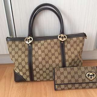 100% Authentic Gucci lovely heart-shaped interlocking G tote + wallet
