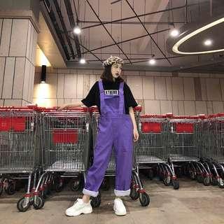 猫日屋 街頭原宿紫色高腰吊帶褲