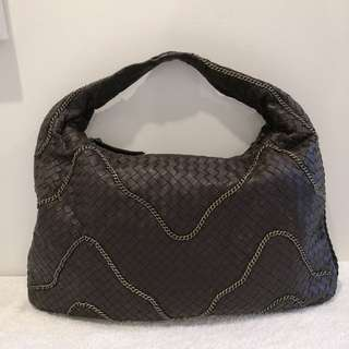 Non-branded Soft Brown Woven Leather Hobo Bag