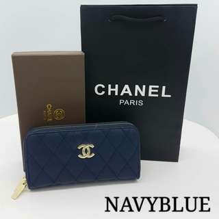 Chanel Classic Zippy Wallet Navy Blue Color