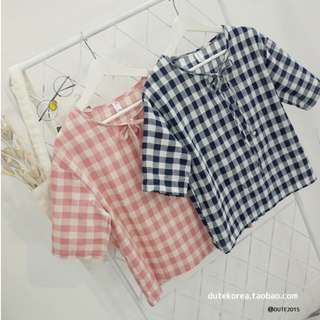 Checkered Top Black or Pink