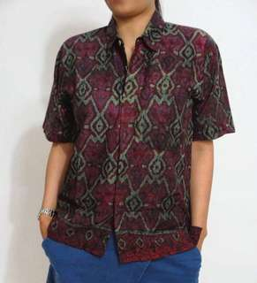 (JNT-1896) Batik Top , maroon & green