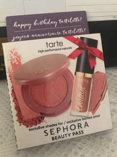 Tarte - Amazonian clay 12hour blush in paaarty & creamy matte lip paint in birthday suit