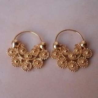 Handcrafted Hoop Filigree Earrings Silver Yellow Gold Plated