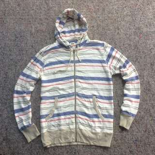 UNIQLO LINED BLUE WHITE ZIP HOODIE