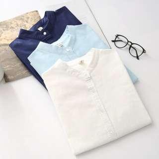 Women Long Sleeve Cotton Blend Collarless Blouse