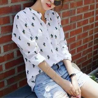 Womens Top Button Down Shirt Collar Blouse