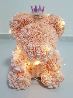 34cm tall Rose bouquet teddy bear with Led