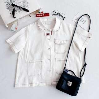 復古少女明線多口袋寬鬆翻領米白色工裝短袖外套襯衫上衣chic百搭