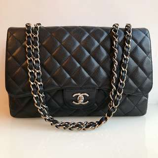 Chanel Classic Jumbo Single Flap Bag 30cm 荔枝牛皮
