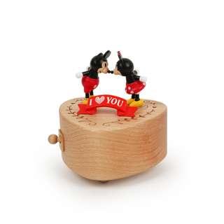 迪士尼 Disney / 米奇&米妮愛心木質旋轉音樂盒 / D283 / 米老鼠 mickey 情人節 禮物 親吻 送禮