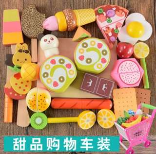 *In Stock* BN Wooden Magnetic Dessert Ice Cream Popsicle Snacks Cutting Foods Kitchen Play Set
