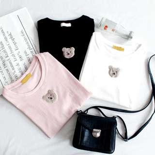 復古軟妹少女毛茸茸刺繡小熊頭像圓領短袖T恤上衣chic百搭夏(3色)