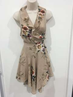 Showpo beige floral pleated frilldress