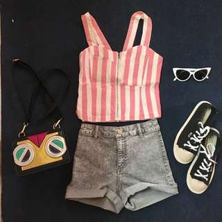 Pink stripes corset sexy top