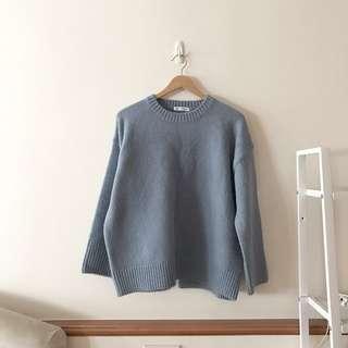 正韓 舒服藍坑條紋針織毛衣