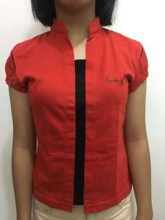 AUTHENTIC Red & Black Chinese Collar BUM Top