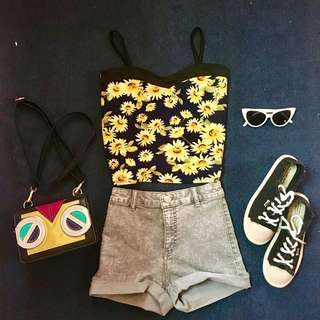 Sunflower corset crop top