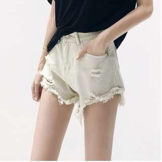 破洞復古牛仔褲寬鬆顯瘦毛邊破壞感寬管短褲