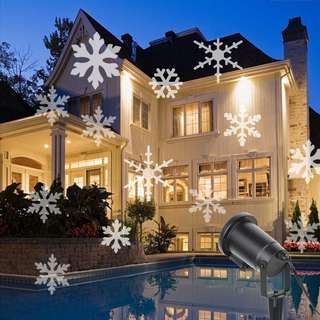 420. Christmas Projector Lamp Moving White Snowflake LED Landscape Projection Lights Outdoor/Indoor Decor Spotlights Stage Irradiation for Christmas Party Holiday Home Decoration Garden Tree Wall