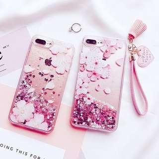 🌸日韓iPhone8/plus/x 櫻花流沙閃粉 手機殼