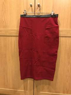 Sportsgirl Red Pencil Skirt Size Small