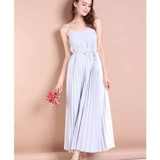 White/Grey Pleated Maxi Dress (Neonmello)