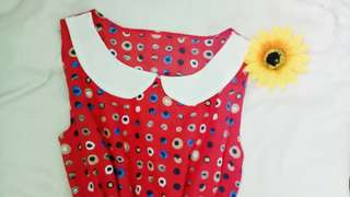 Red Polkadot Chiffon Dress