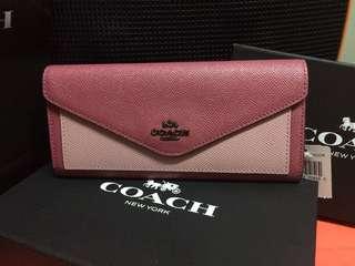 (割引)全新Coach wallet 粉紅雙色長銀包