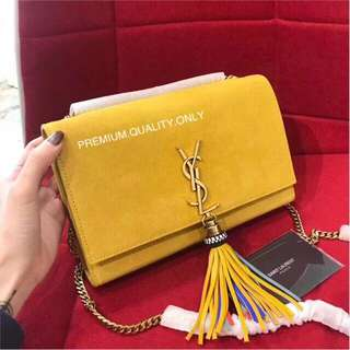 YSL Suede Monogramme Kate Beaded Tassel Chain bag - saffron yellow