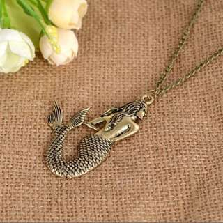Vintage Bronze Mermaid Pendant Chain Necklace