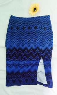 Forever 21 Blue Aztec Pencil Skirt small with slit